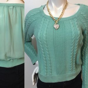Mint Mesh Back Cable Knit Sweater!